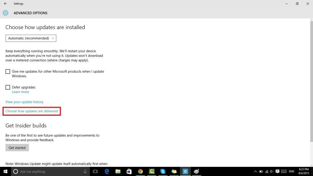 ويندوز 10 ايقاف التحديثات